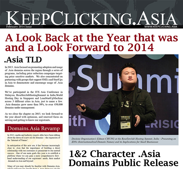 KeepClicking.Asia Newsletter February 2014 Issue Released