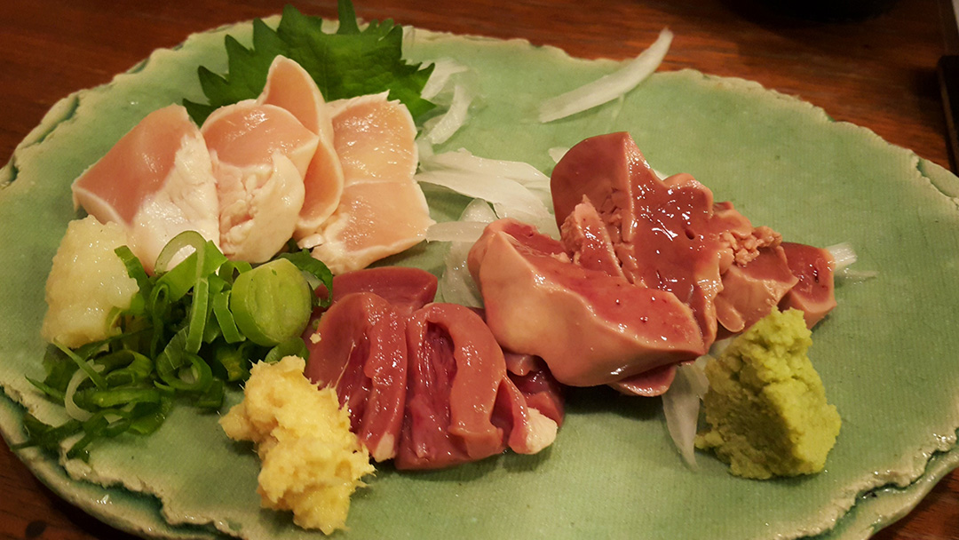 Chicken Heart & Liver Sashimi, Fukuoka, Japan
