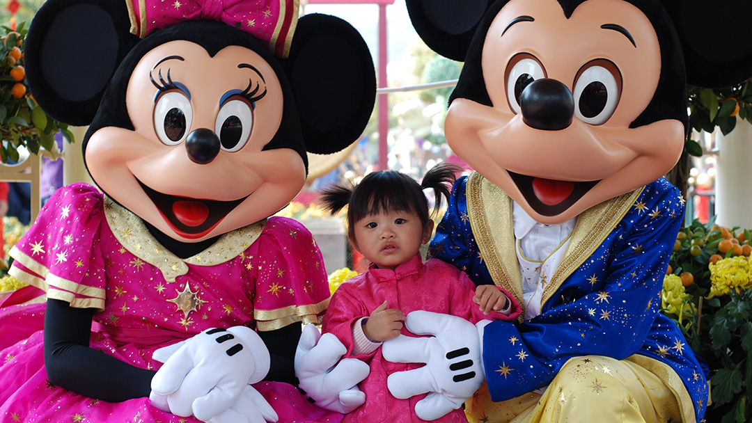 Character photos at Hong Kong Disneyland